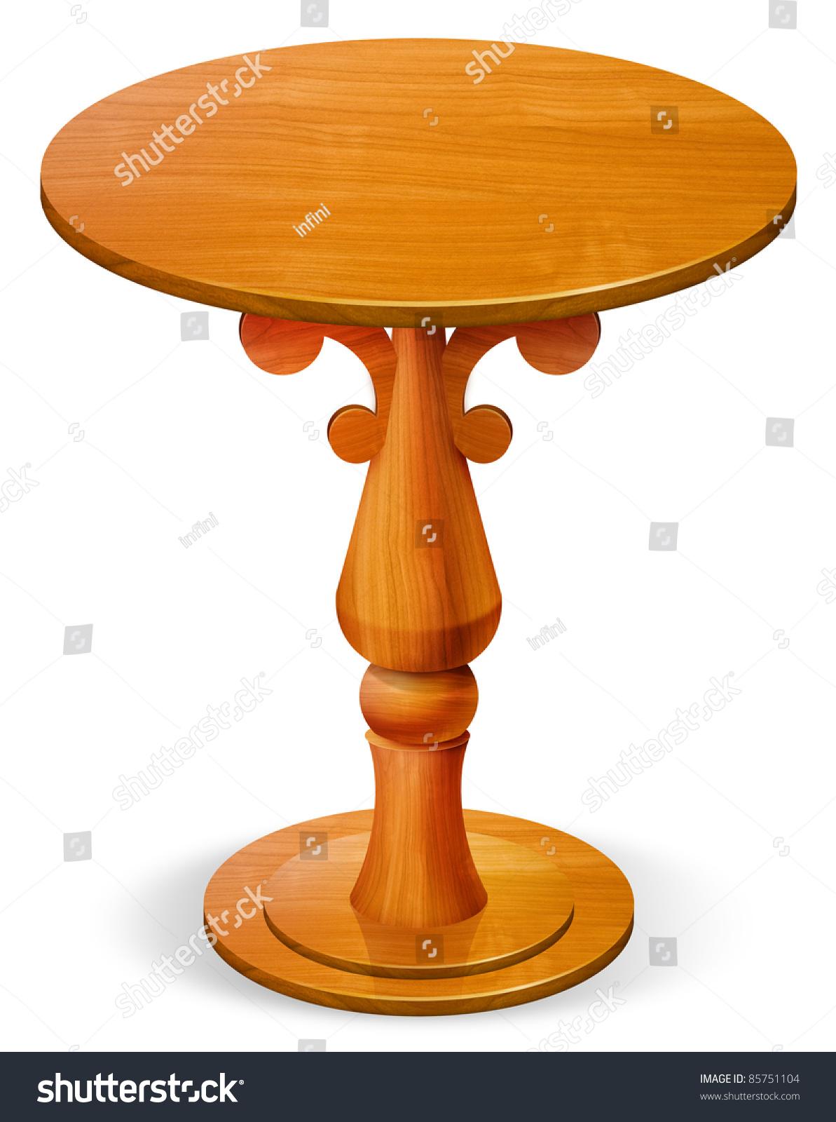 Wooden Circle Table Stock Illustration 85751104 - Shutterstock