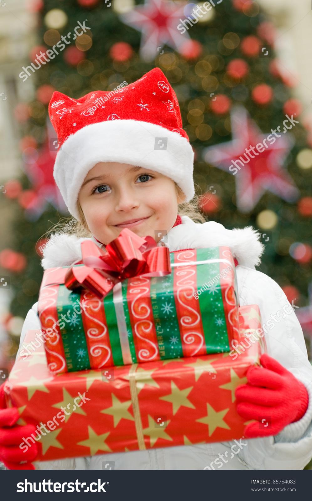 Happy Christmas Little Girl Christmas Gifts Stock Photo (Edit Now ...