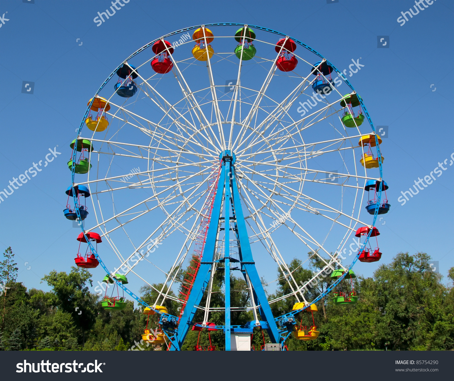 A colourful ferris wheel. Front view #85754290