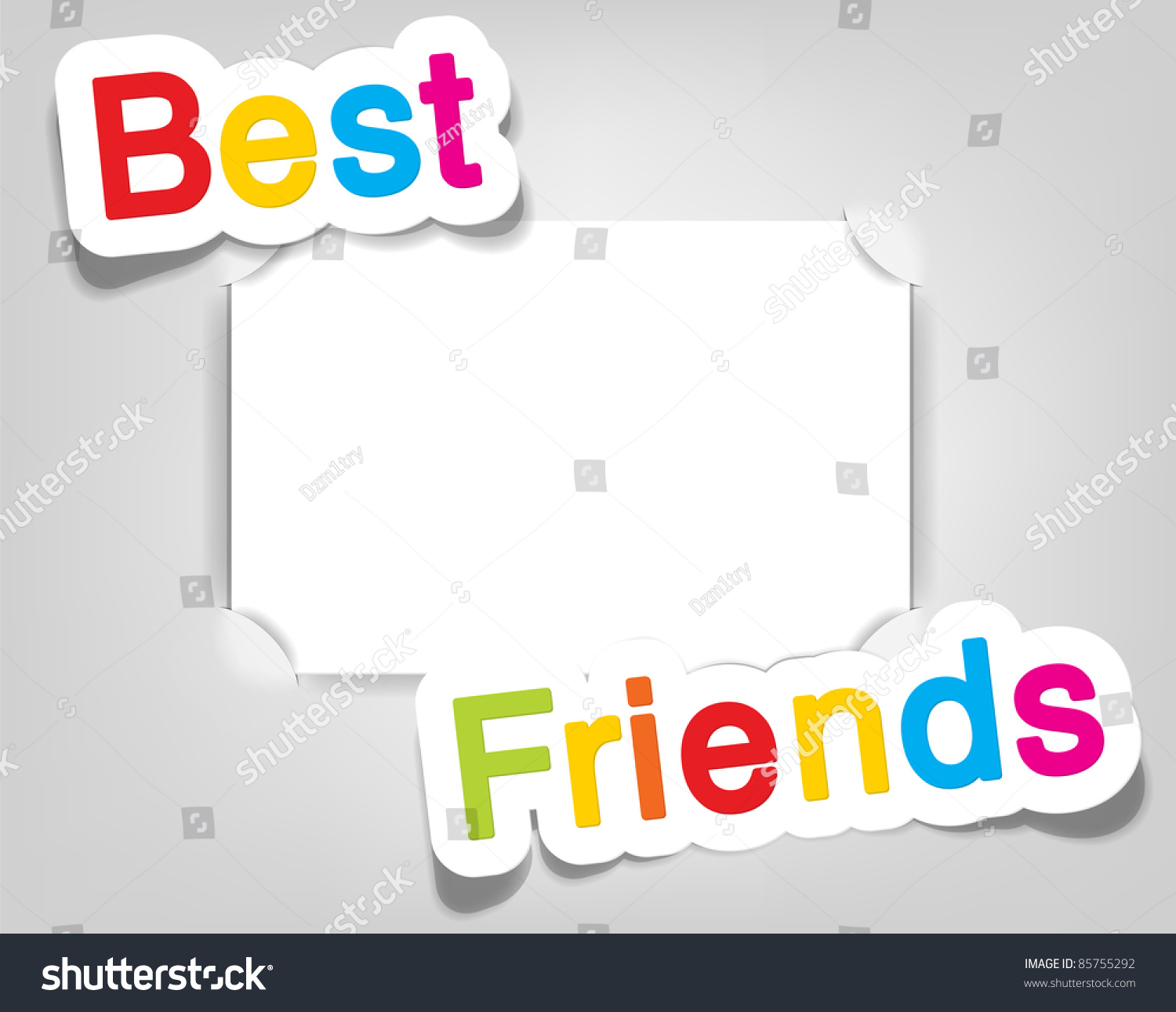 vector empty photo frame best friends realistic cut takes the background color
