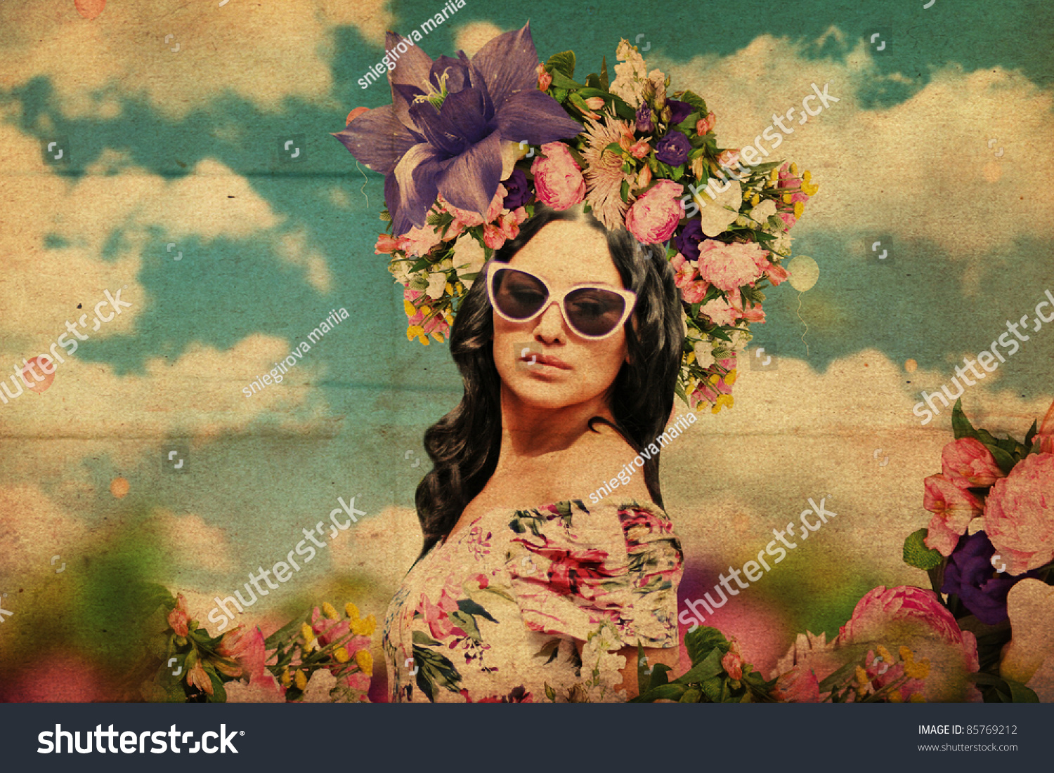 Art collage beautiful young woman flowers stock photo 85769212 art collage beautiful young woman with flowers on the head vintage texture dhlflorist Gallery