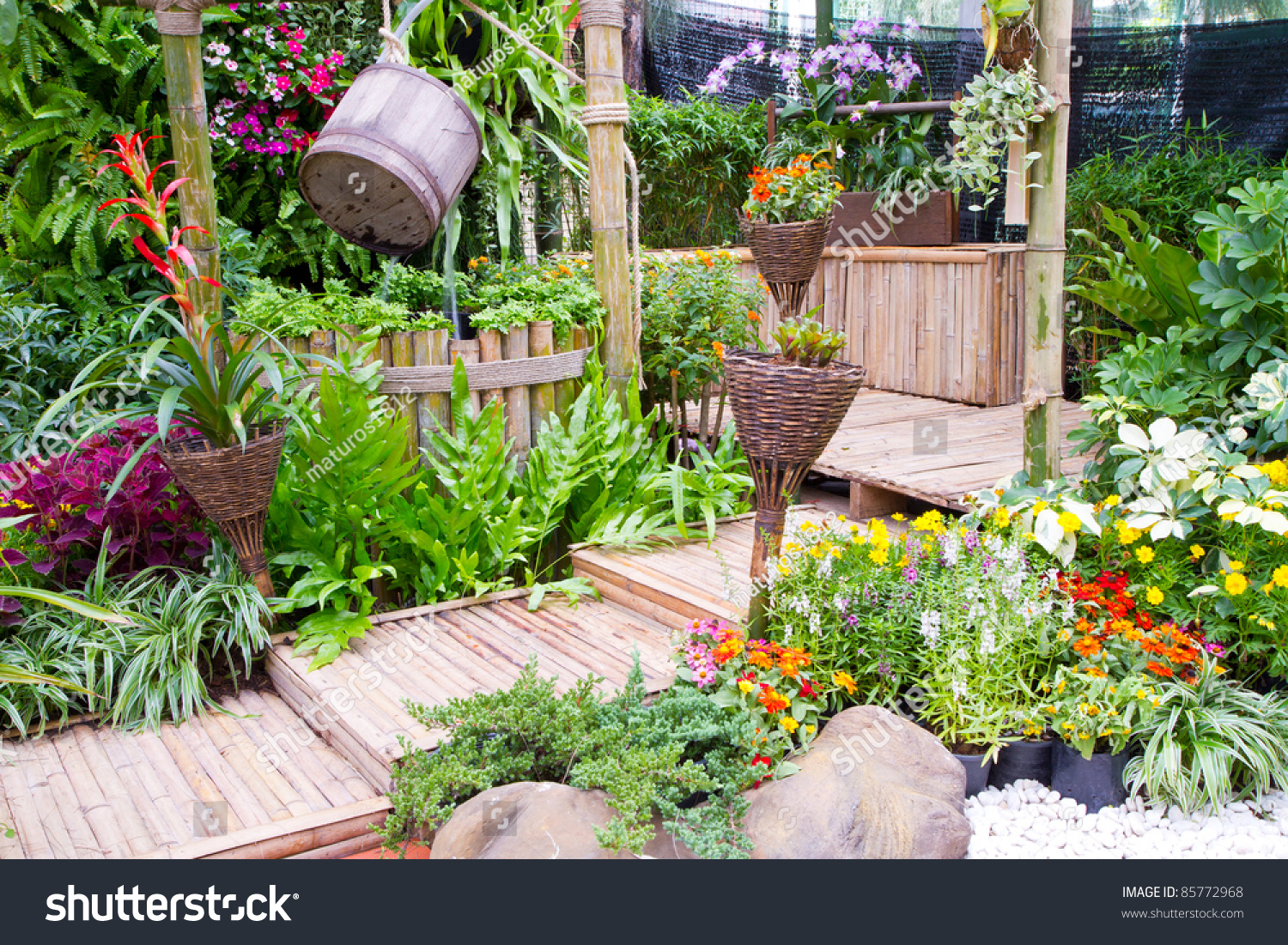 Beautiful garden home exterior stock photo 85772968 for Home garden pictures
