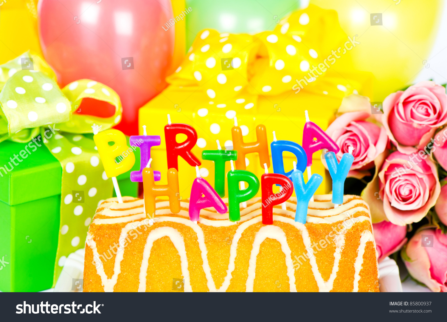 Happy Birthday Party Decoration Roses Flowers Stock Photo Edit Now