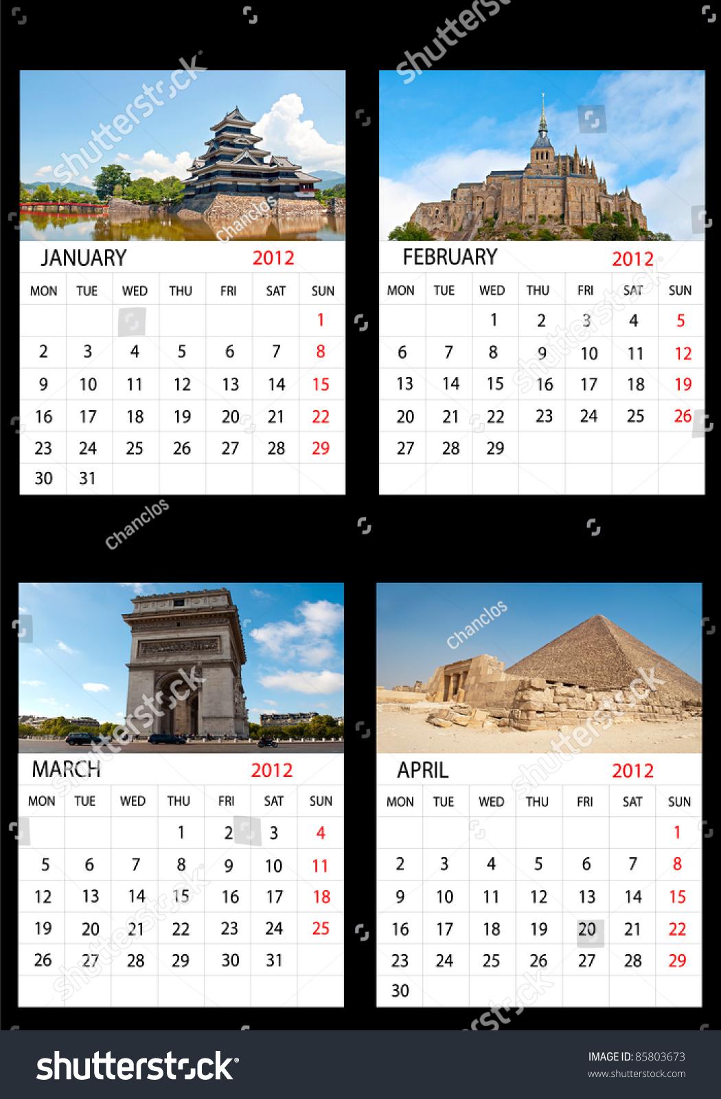 Calendar April Java : Calendar january february march april english
