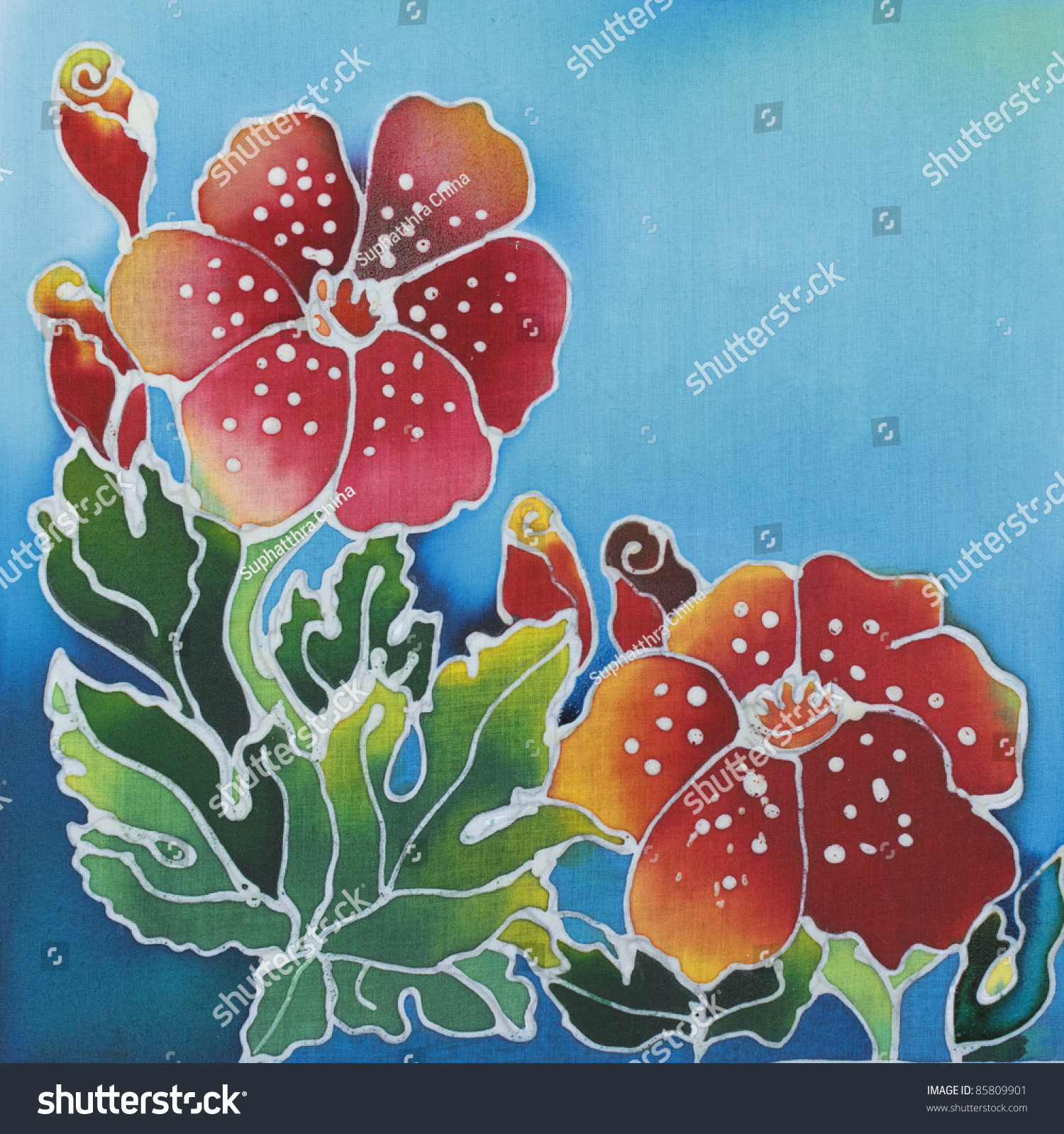 Floral Pattern Paint On A Batik Design From Thailand Stock