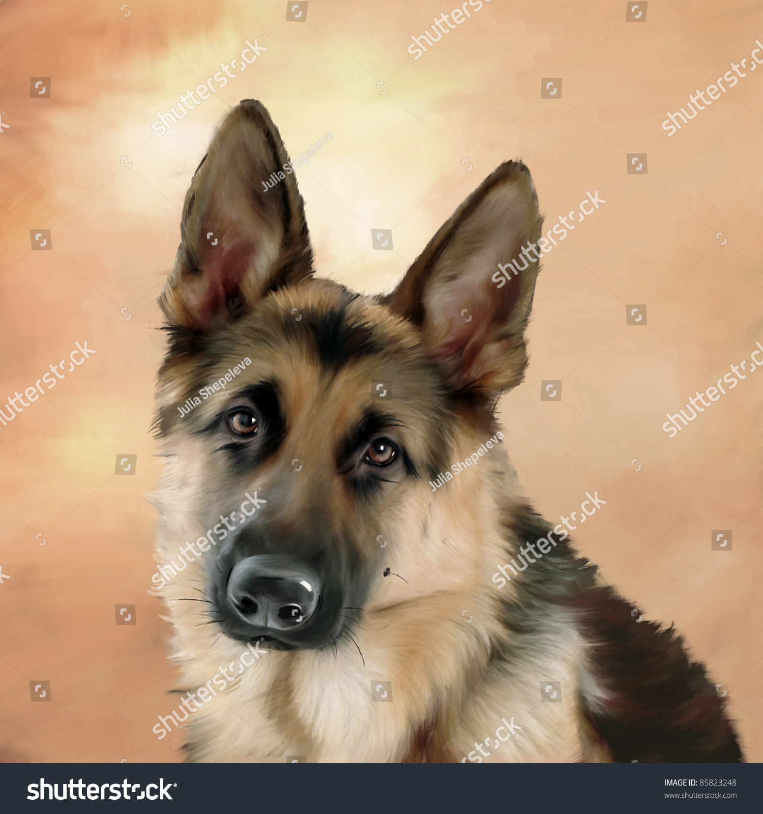 German shepherd portrait oil painting stock photo 85823248