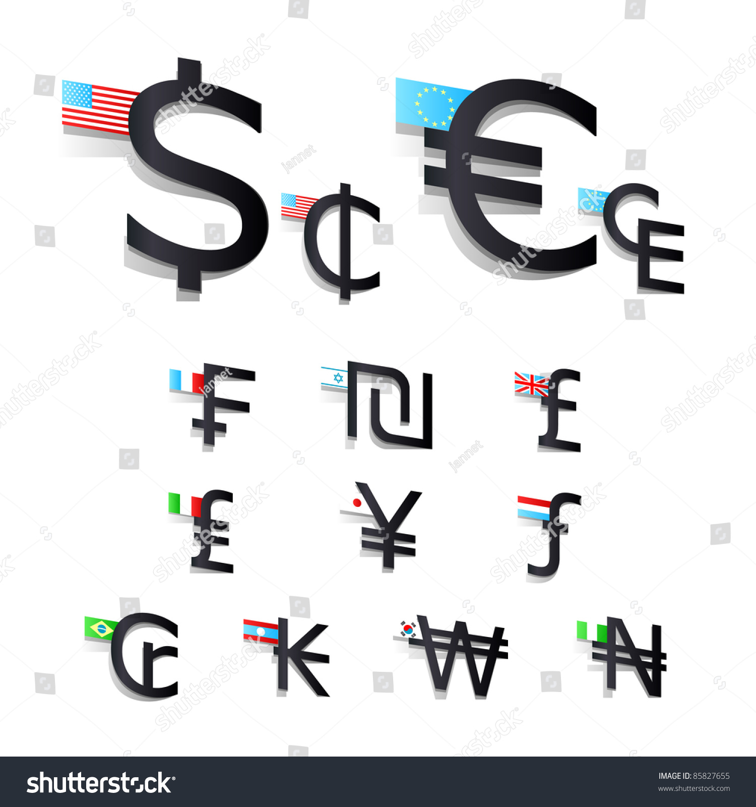 Set International Currency Symbols Flags Stock Vector Royalty Free