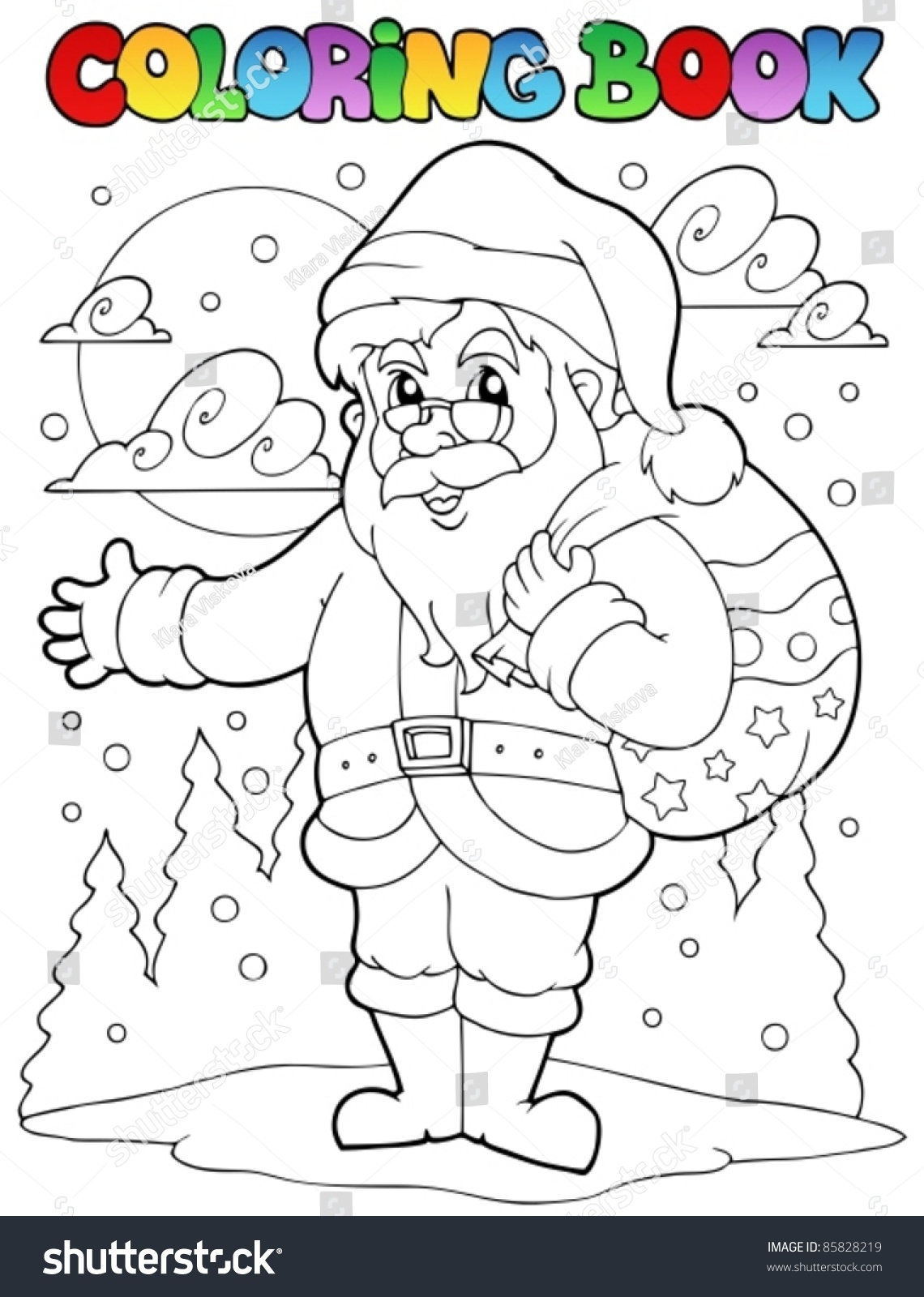 Coloring book Santa Claus topic 5 - vector illustration. | EZ Canvas