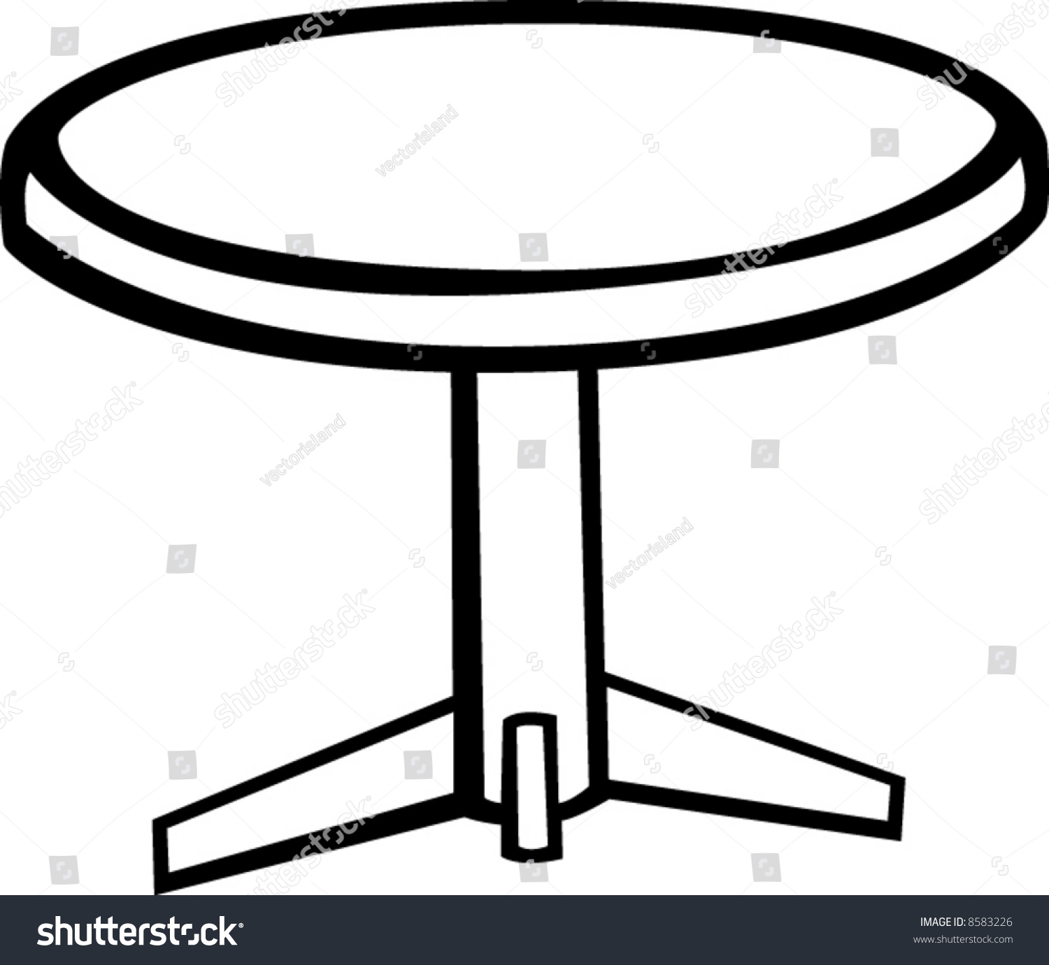 Pedestal Round Table Stock Vector  Shutterstock - Round table clip art