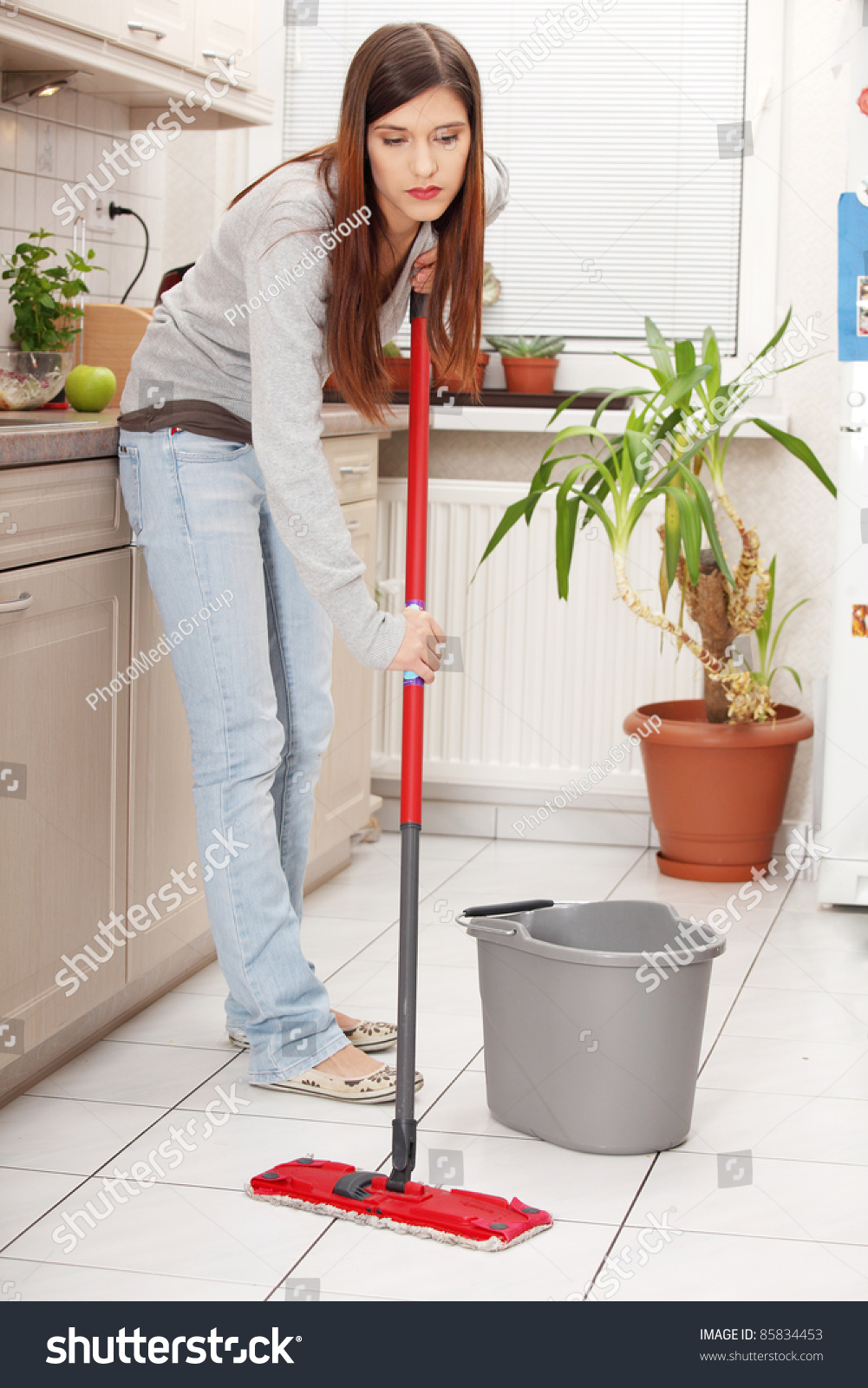 Kitchen Floor Mop Woman Holding Mop Cleaning Kitchen Floor Stock Photo 85834453