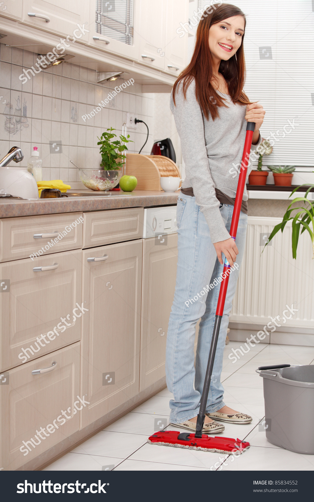 Kitchen Floor Cleaners Woman Holding Mop Cleaning Kitchen Floor Stock Photo 85834552