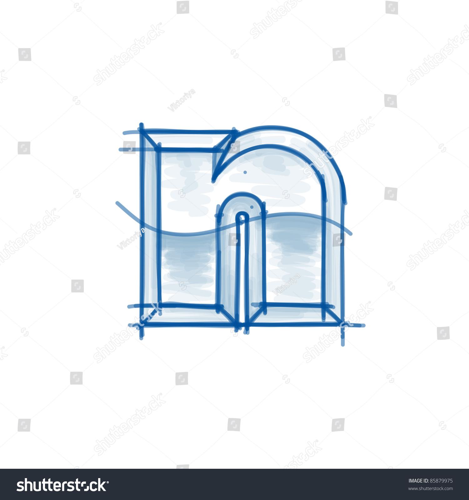 Blueprint font sketch letter n marker stock vector 85879975 blueprint font sketch letter n marker drawing malvernweather Gallery