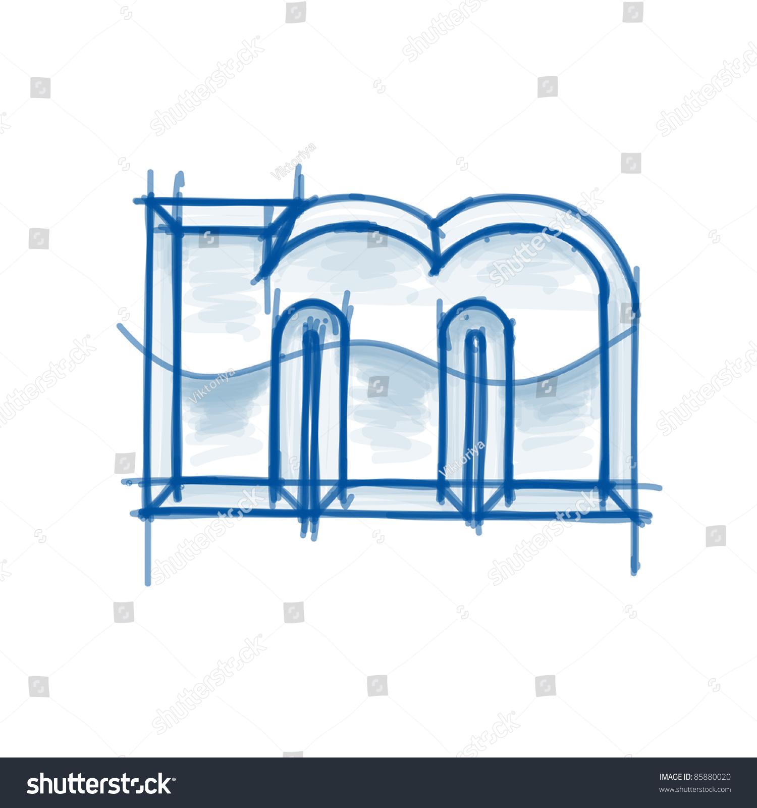 Blueprint font sketch letter m marker stock vector 85880020 blueprint font sketch letter m marker drawing malvernweather Gallery