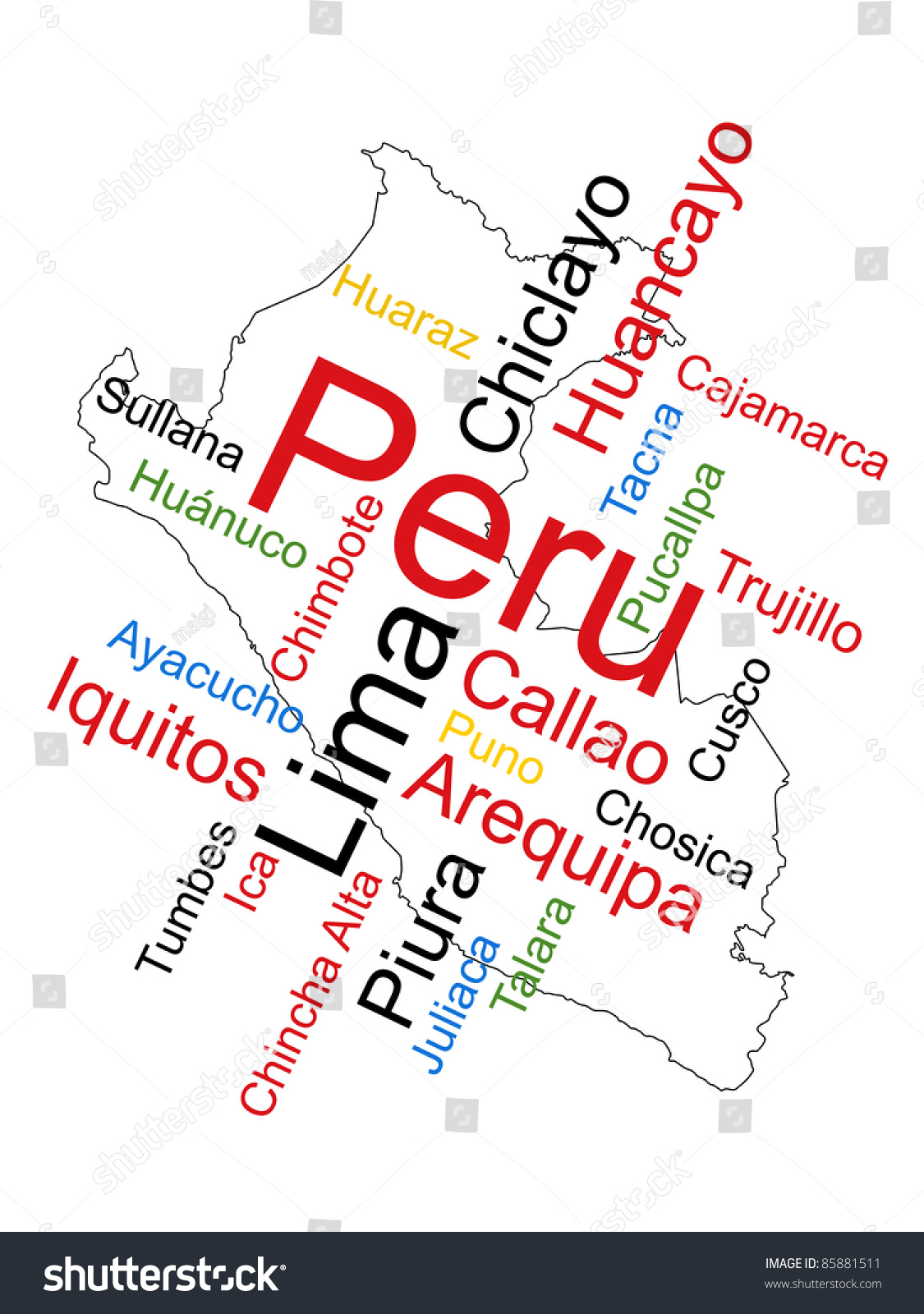 Peru Map Cities.Peru Map Words Cloud Larger Cities Stock Vector Royalty Free
