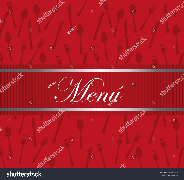 red carte restaurant design cutlery background stock vector