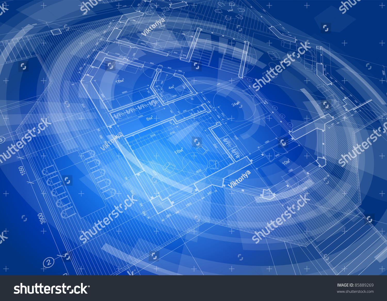 Architecture design blueprint house plan blue stock for Technology architecture design