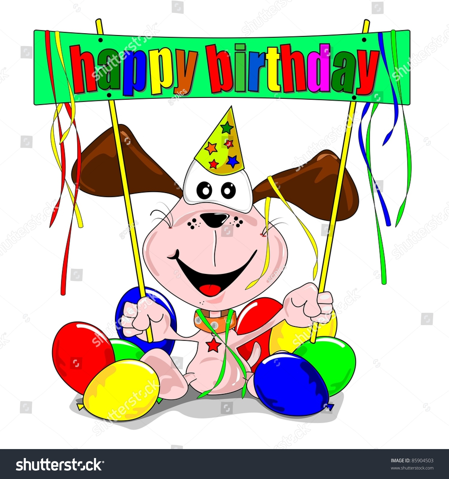 Cartoon dog stock photos images amp pictures shutterstock - Happy Birthday With Cartoon Dog Balloons Party Streamers Wallpaper Gallery Doodle Stock Photos Images