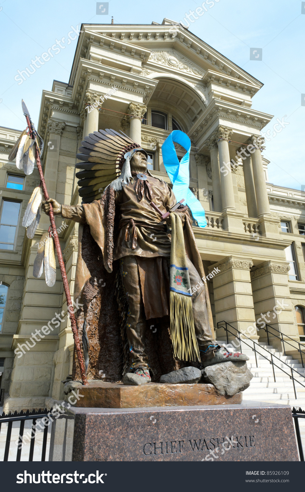 Wyoming State Capitol Building Statue Chief Stock Photo