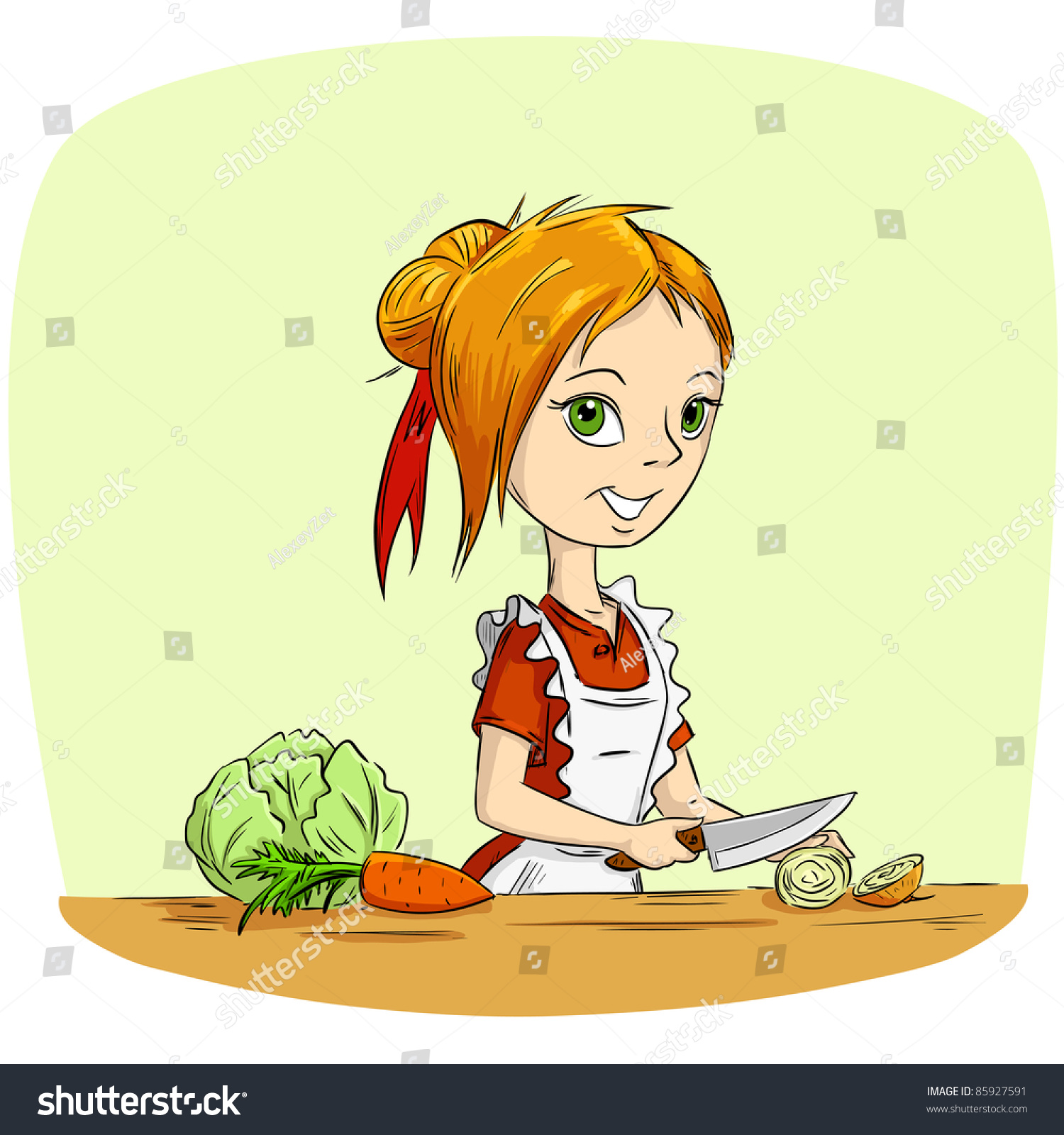 Cartoon Woman Housewife Cooking Vegetables Knife Stock ...