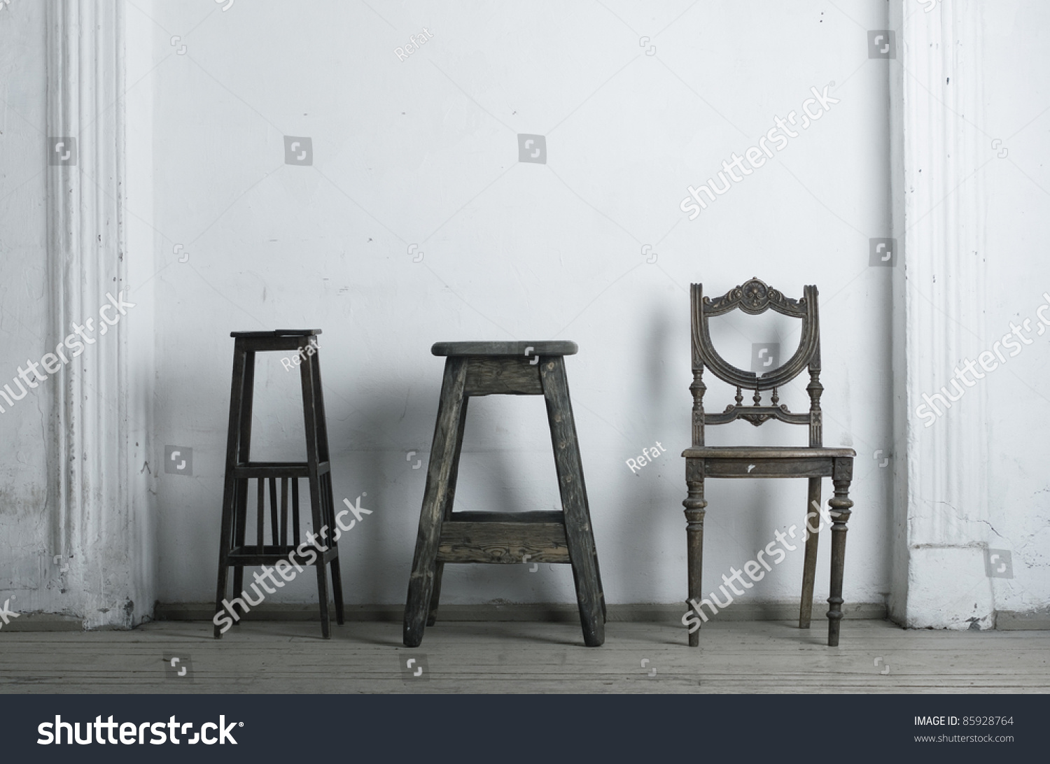 three retro chair against a white wall stock photo 85928764 shutterstock. Black Bedroom Furniture Sets. Home Design Ideas