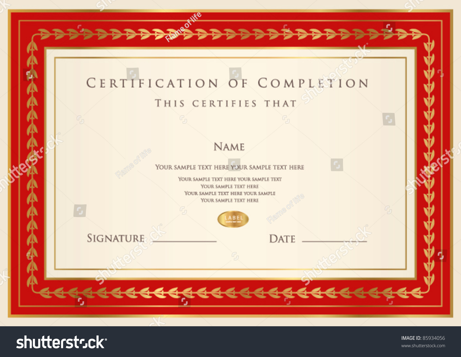 Blank Certificates Of Completion Of Completion10 Free Printable – Certificate of Completion Template Free