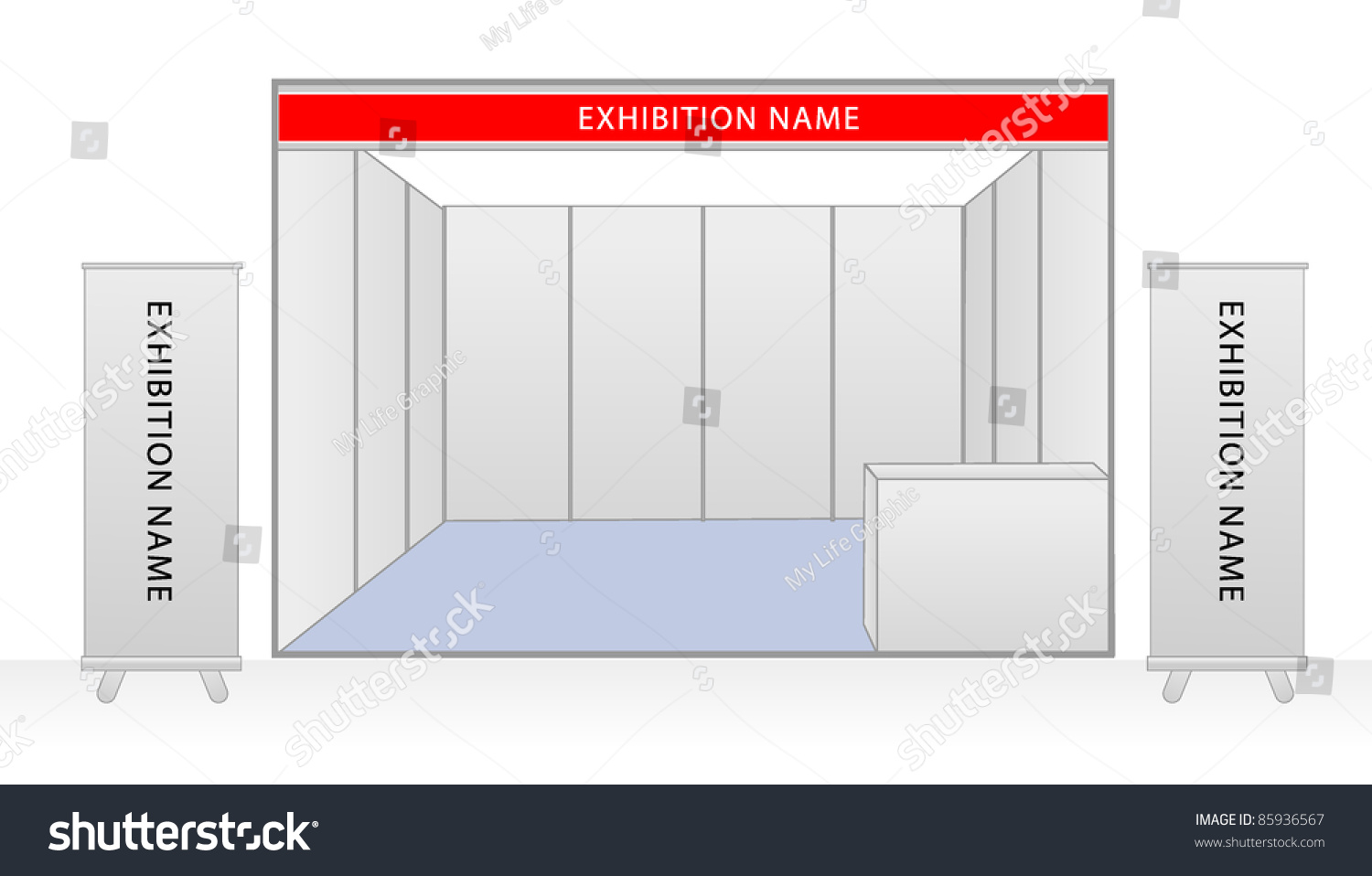 Exhibition Stand Planning Template : Blank trade exhibition stand roll banner stock vector