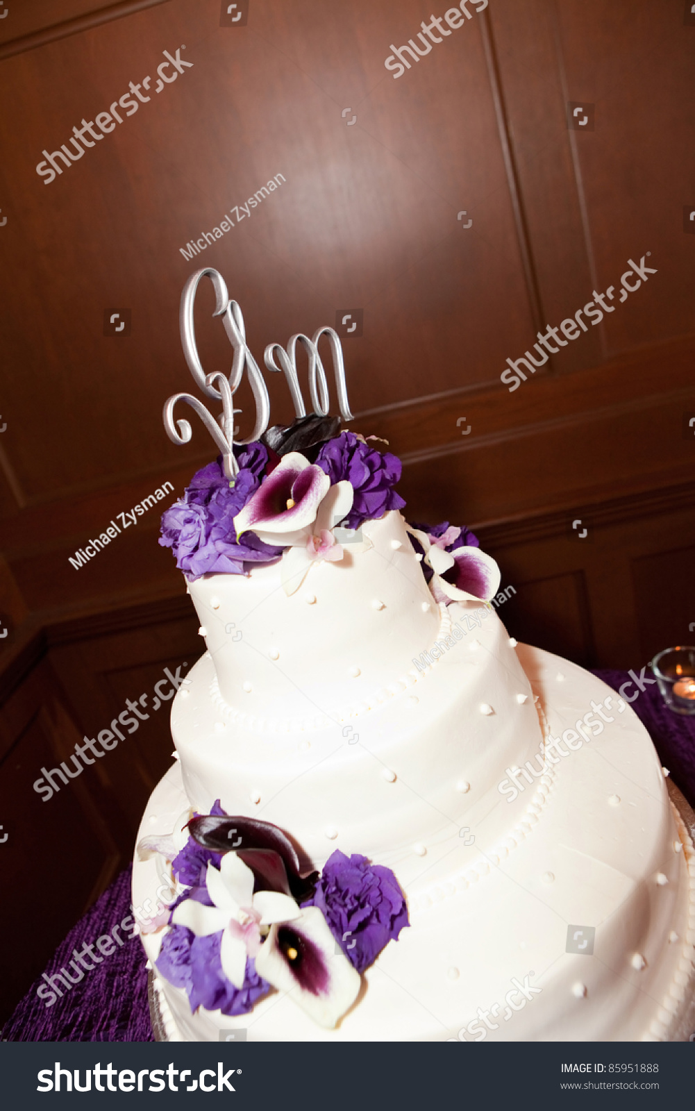 Beautiful White Wedding Cake Purple Flowers Stock Photo Edit Now