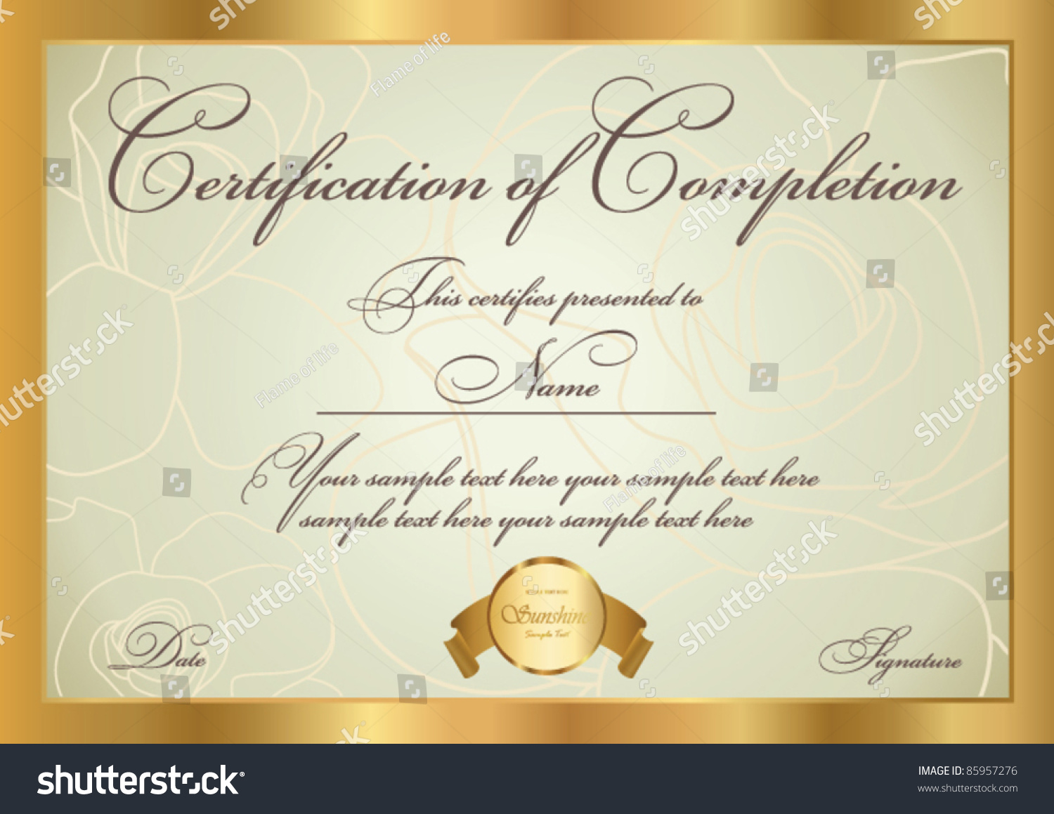 Horizontal Certificate Completion Template Golden Floral Stock Vector 85957276 Shutterstock