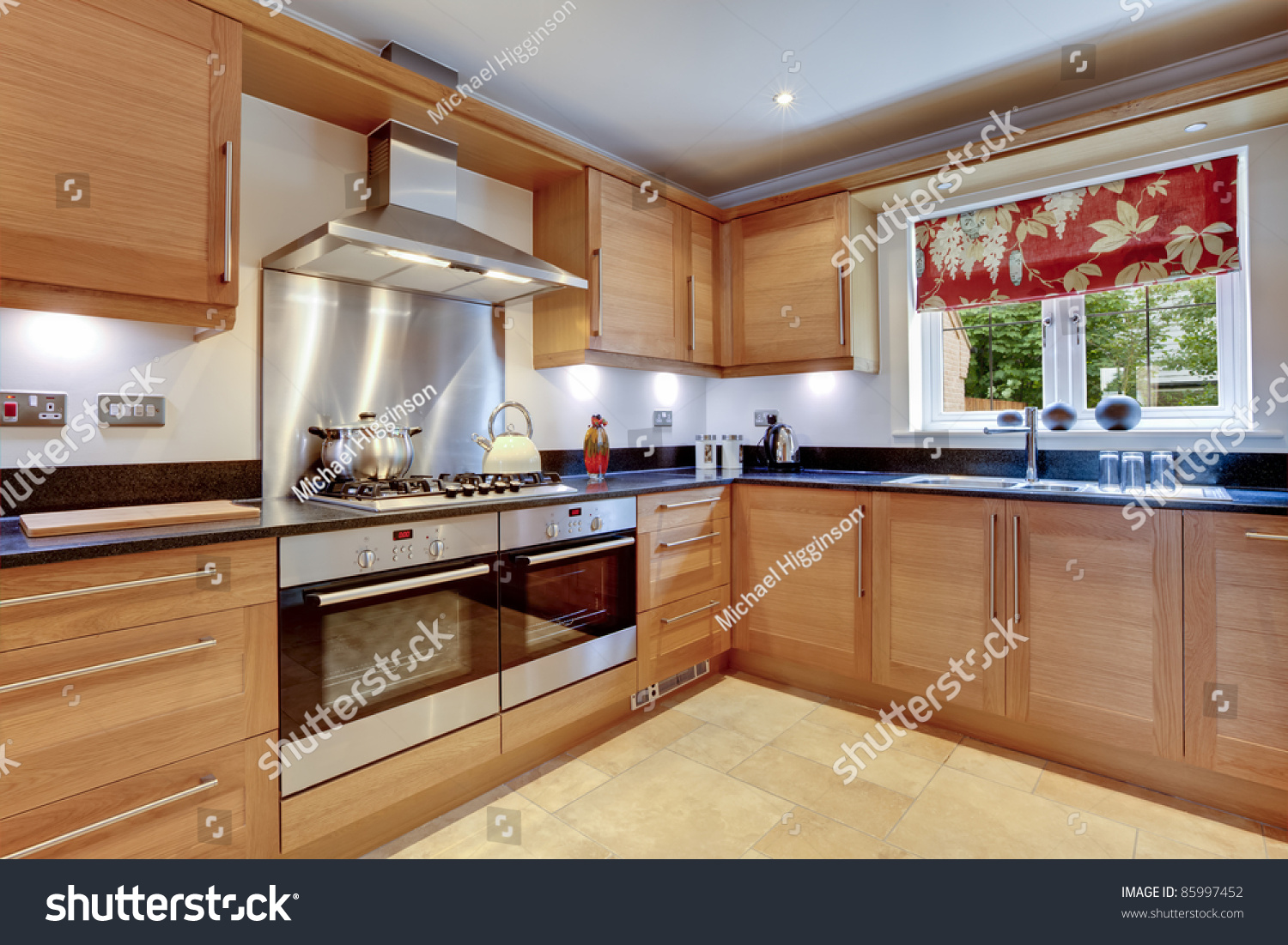 Stainless steel kitchen work surfaces - Luxury Modern Fitted Kitchen With Stainless Steel Appliances Granite Work Surfaces And Two Ovens