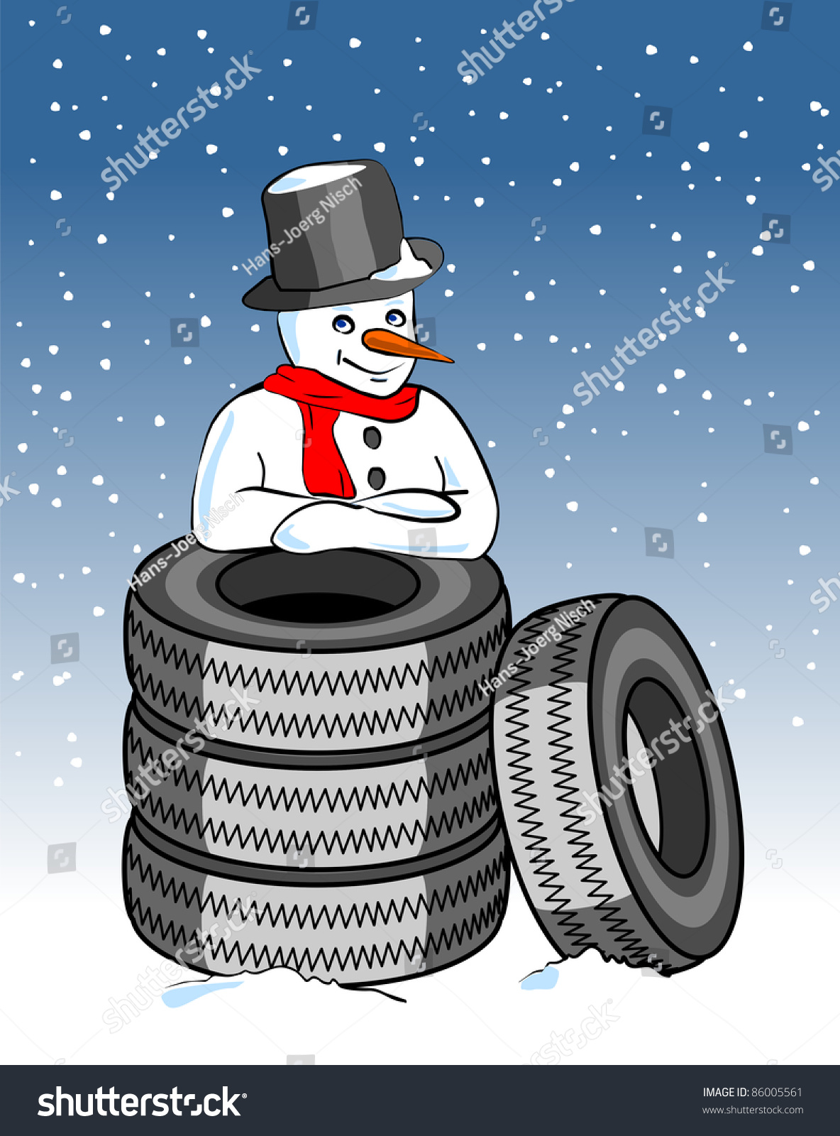 Snow tires snowman stock illustration 86005561 shutterstock for Snowmen made from tires