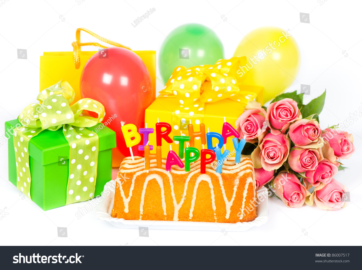 Birthday party decoration roses flowers cake stock photo edit now birthday party decoration with roses flowers cake balloons gifts and candles card izmirmasajfo