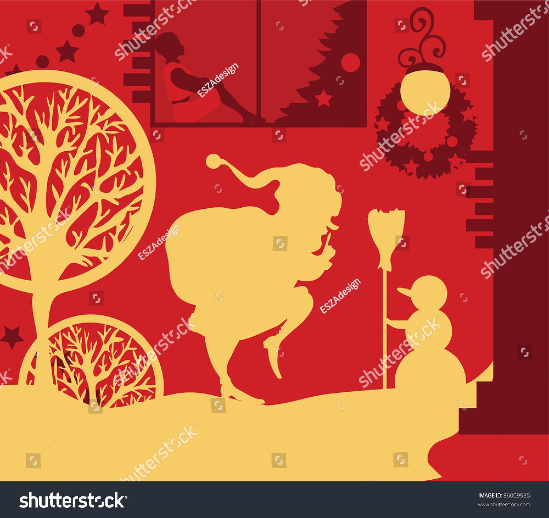 Vector Illustration Santa Claus Quietly Goes Stock Vector 86009935 ...