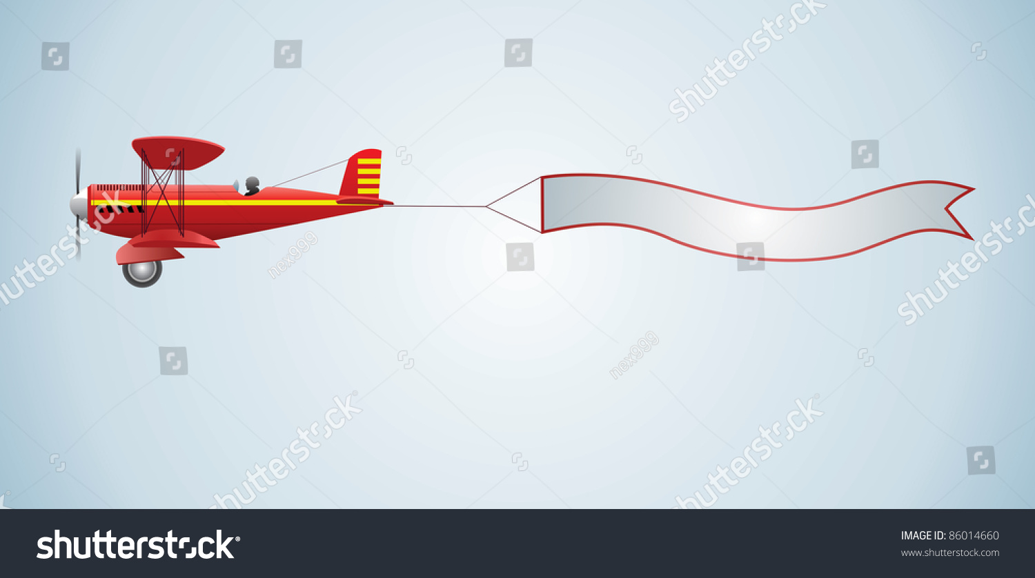 Biplane Aircraft Pulling Advertisement Banner Stock Vector