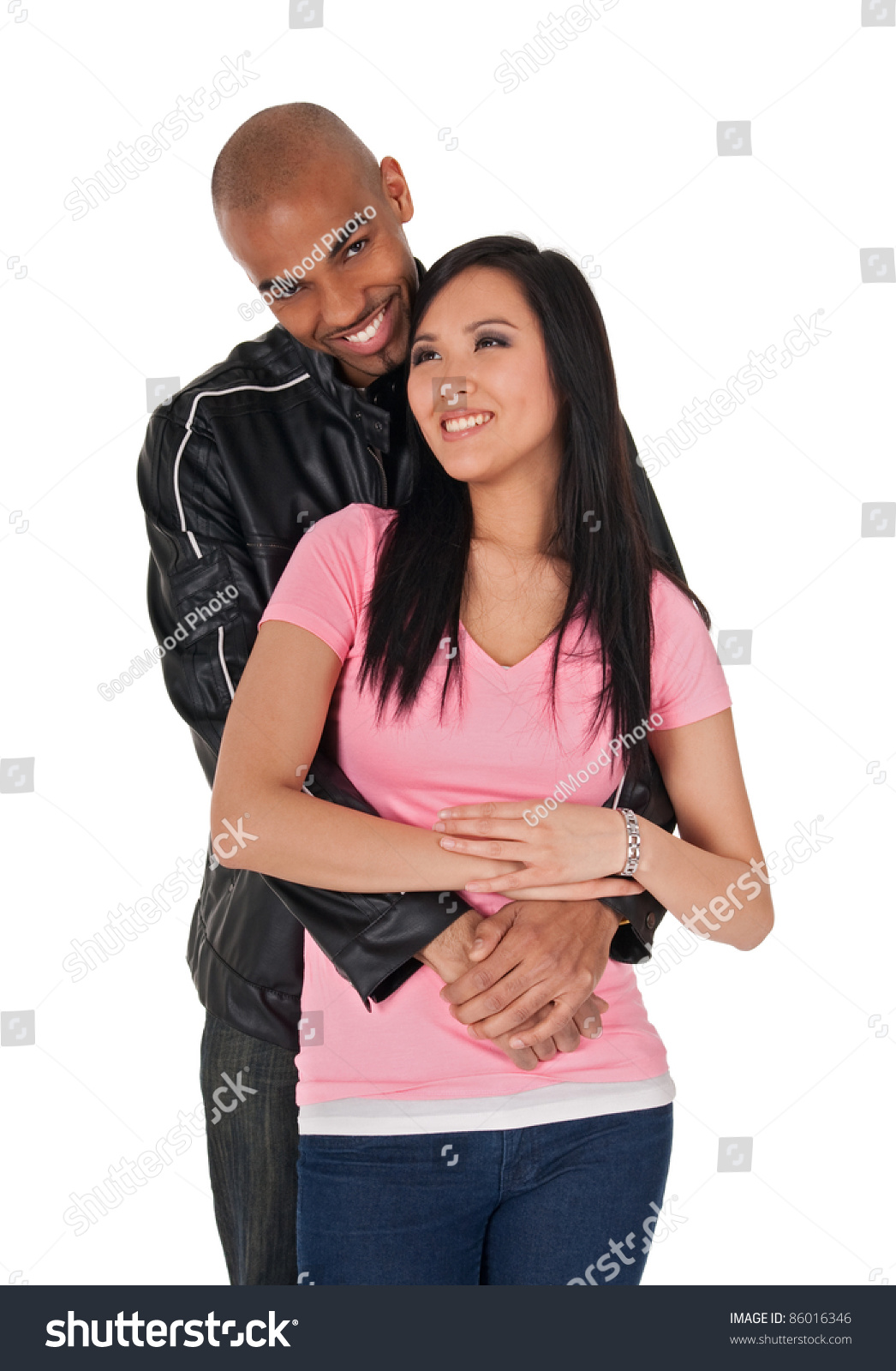 young loving couple smiling african american stock photo (royalty