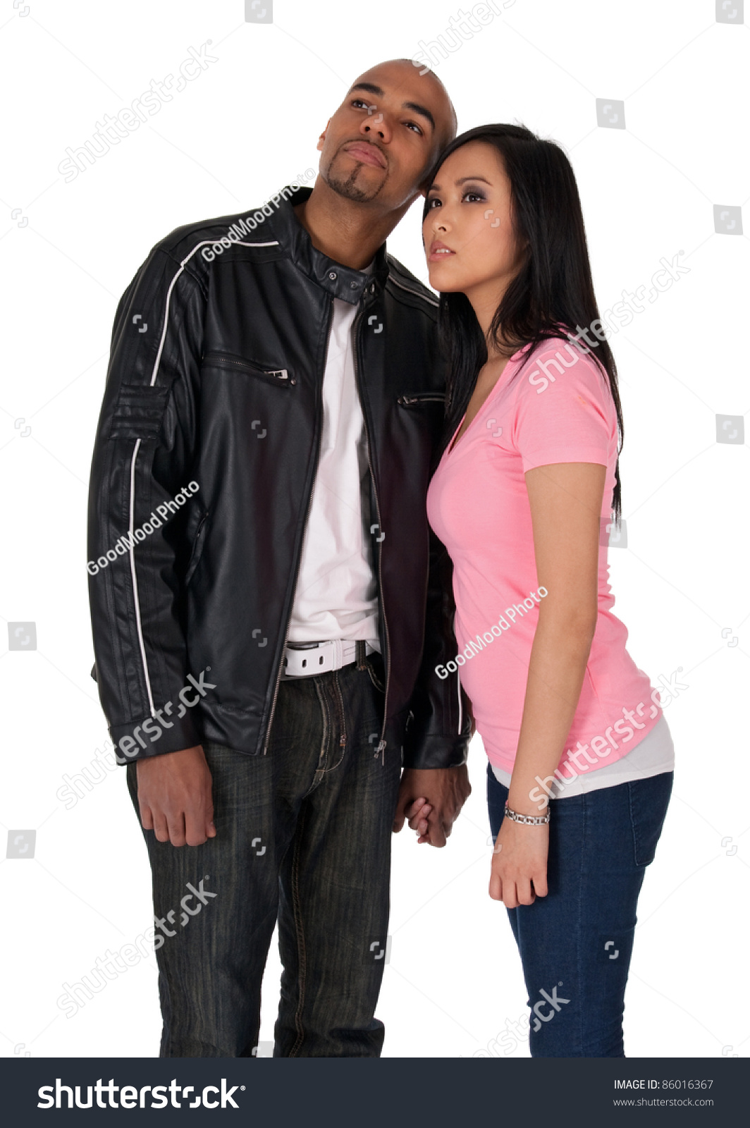young couple looking one direction african stock photo 86016367