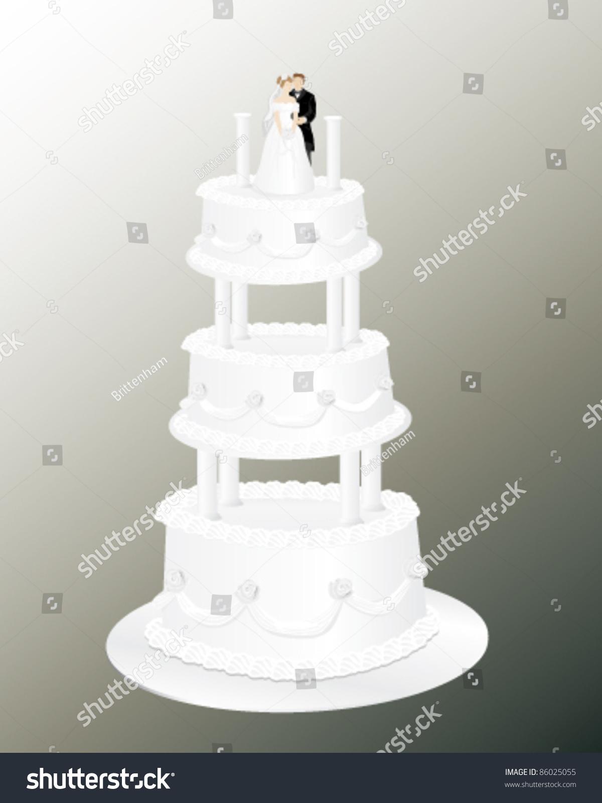 Beautiful Wedding Cake That Has Loving Stock Vector HD (Royalty Free ...