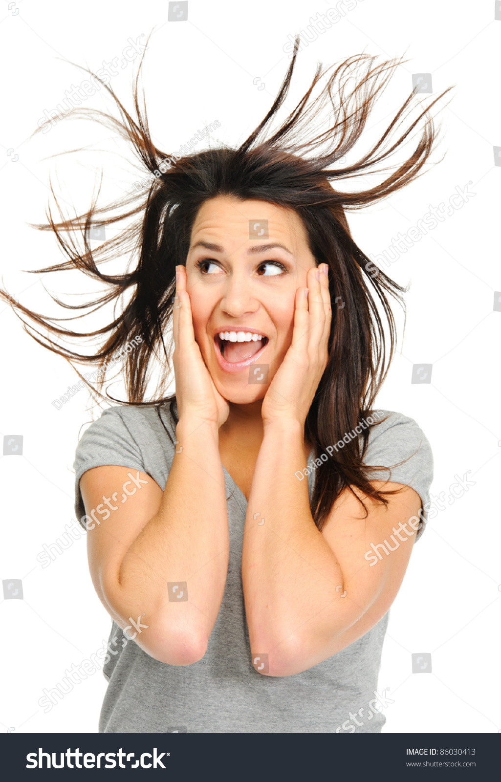 Pretty Woman Excited Windswept Hair Stock Photo Edit Now 86030413