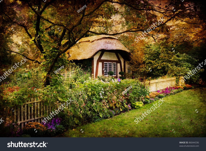 Artistic Image Enchanted English Style Cottage Stock Photo Royalty