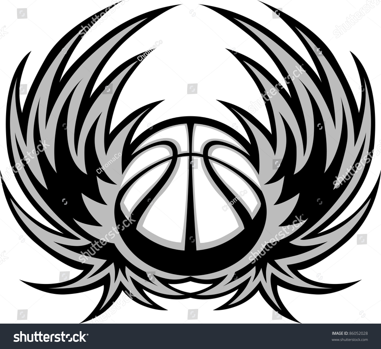 basketball template wings stock vector 86052028 shutterstock. Black Bedroom Furniture Sets. Home Design Ideas