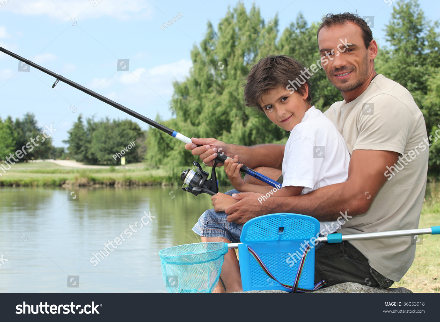 Father and son fishing stock photo 86053918 shutterstock for Father son fishing