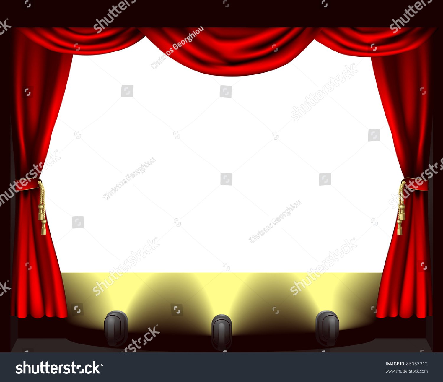 Empty stage curtains with lights - A Theatre Stage Lights And Curtain Illustration