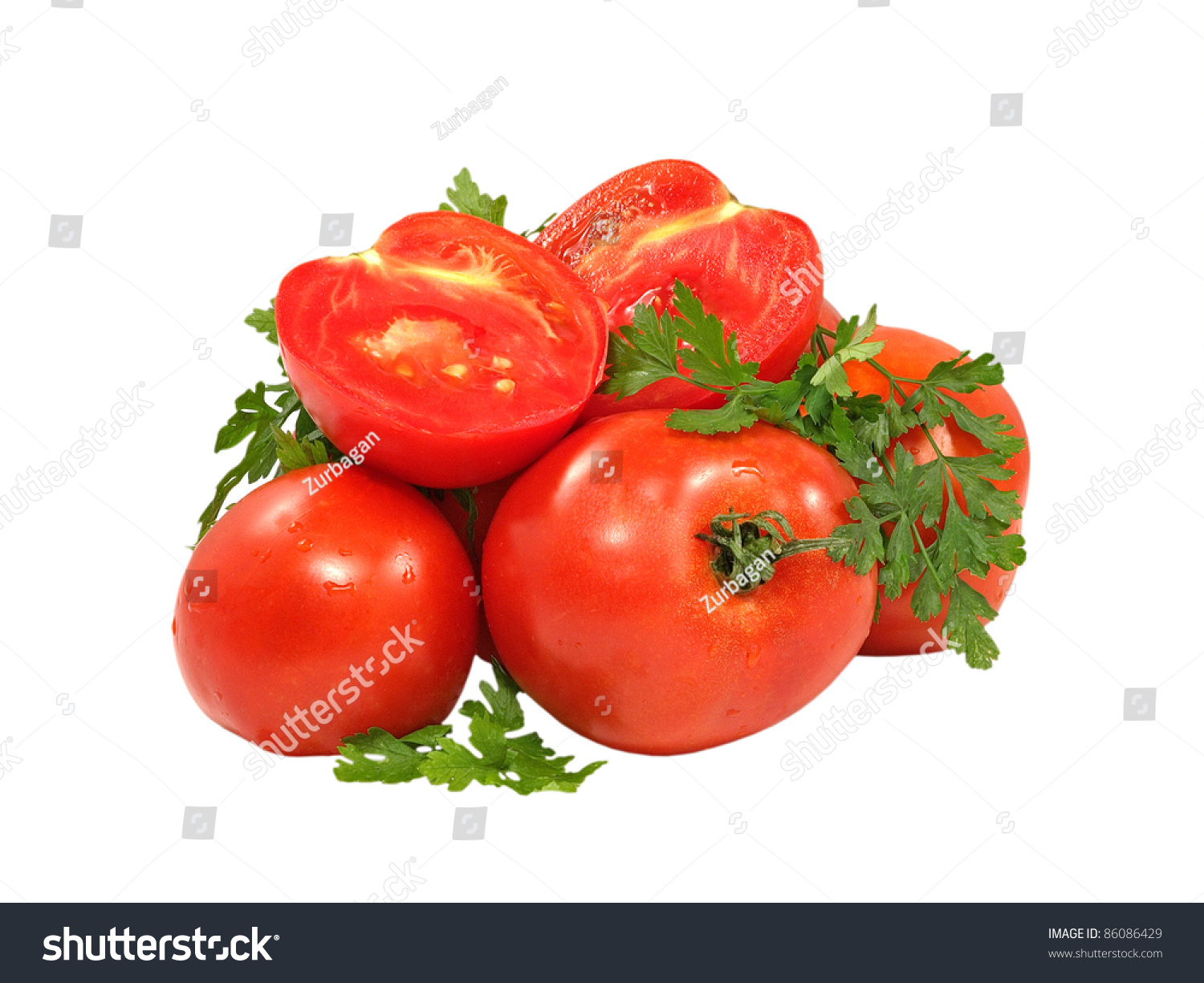 Fresh Red Tomatoes And Green Parsley Branch Isolated On A ...