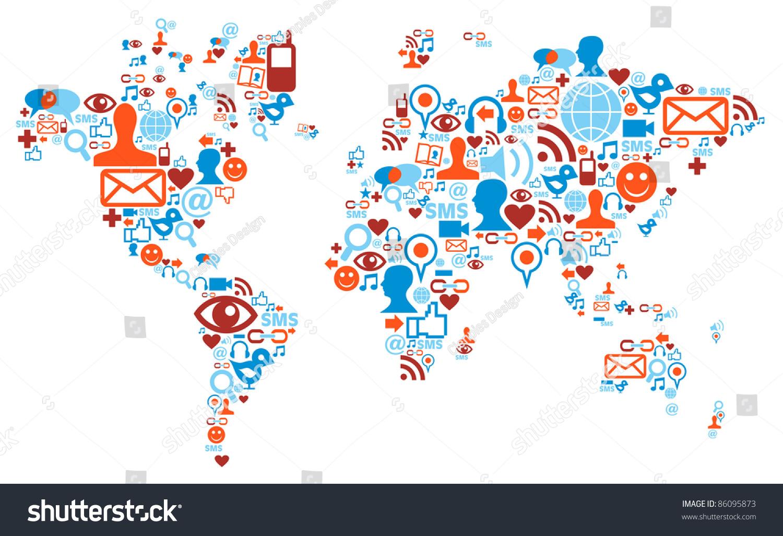 Social media network icons world map vector de stock86095873 social media network icons in world map shape concept gumiabroncs Image collections