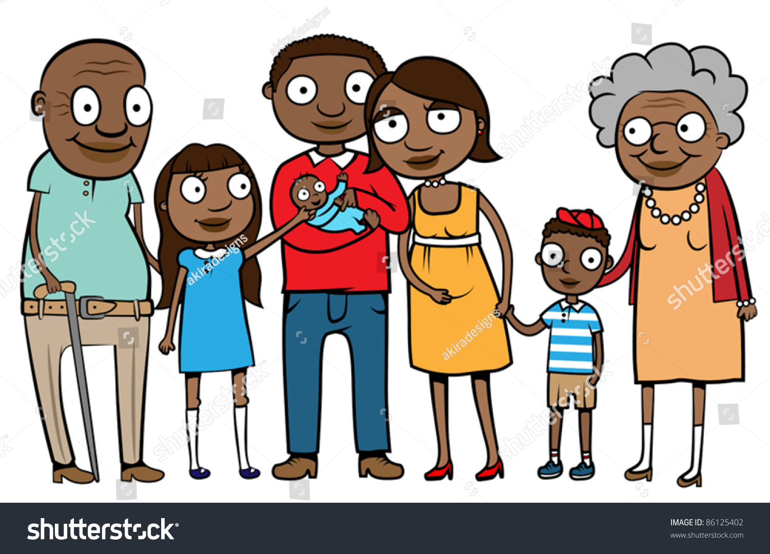 Big Cartoon Black Ethnic Family Parents Stock Vector 86125402 ...