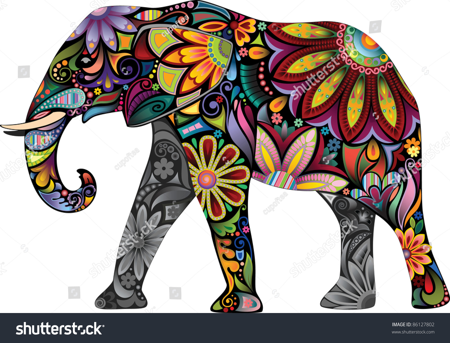 Cheerful Elephant Silhouette Elephant Collected Various ...