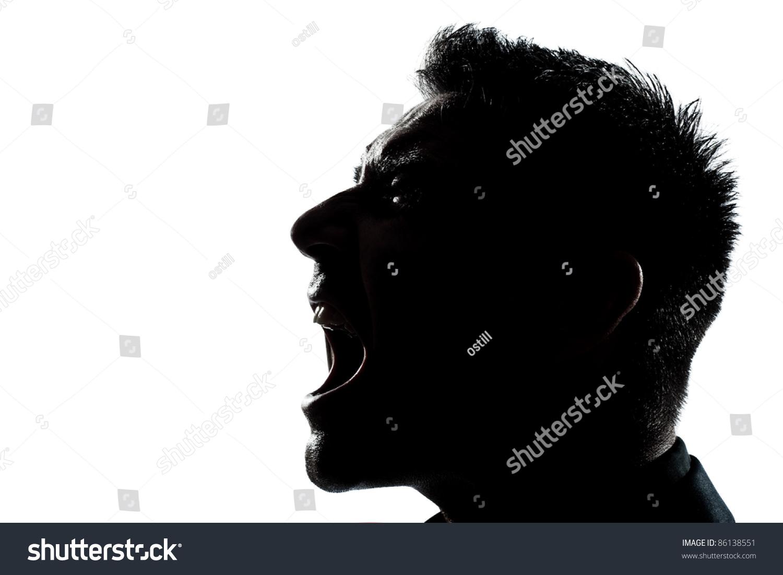 One Caucasian Man Portrait Silhouette Profile Screaming ...