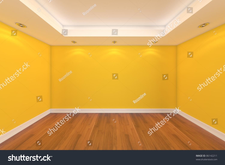 Home Interior Rendering Empty Room Yellow Stock Illustration ...