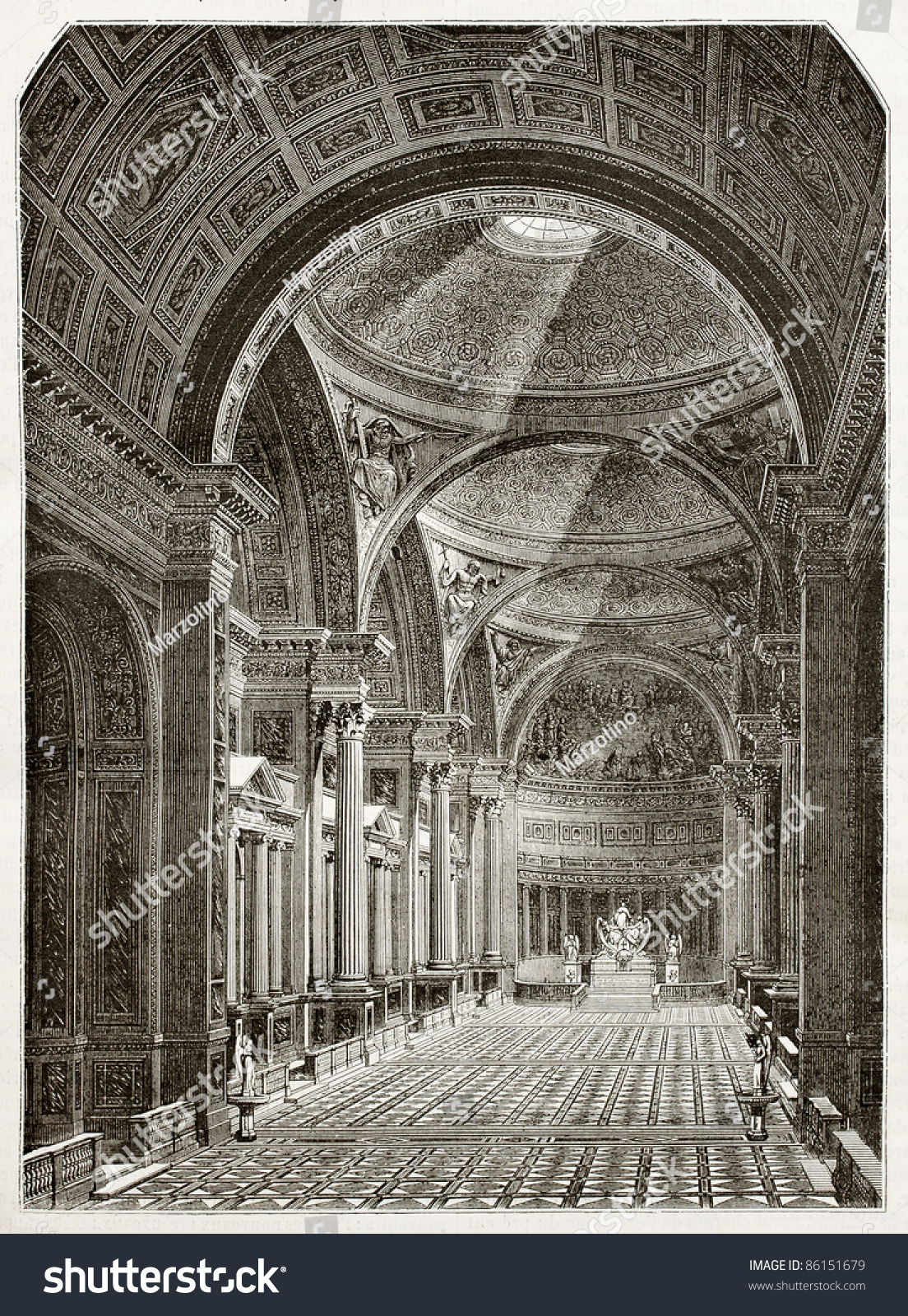 eglise de la madeleine interior old illustration paris created by desmarest and pisan. Black Bedroom Furniture Sets. Home Design Ideas