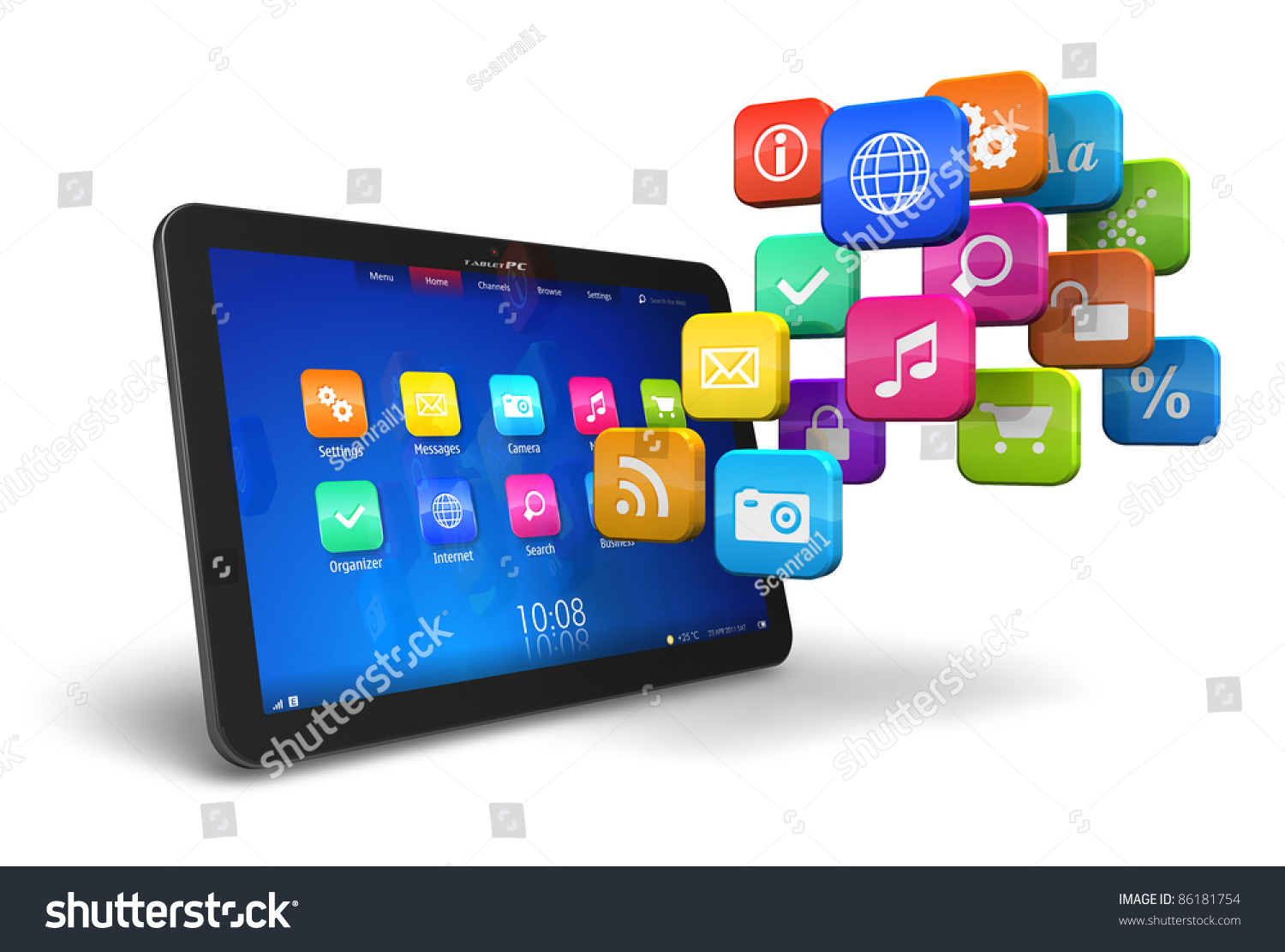 Tablet Pc Cloud Colorful Application Icons Stock Illustration ...