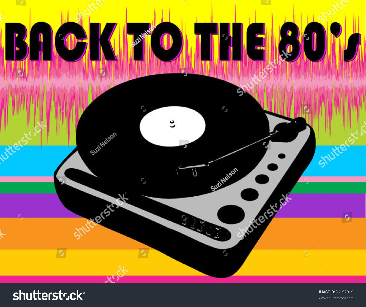Back 80s Record Player Rainbow Soundwave Stock Vector